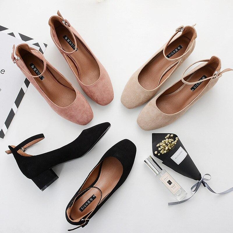 Beige Zapatos Mujer See Baja Alto Mujeres Hebilla Y negro Palabra negro Cm Chart Tacón Cabeza 4 Boca Cuadrada Bombas Con Grueso De fnwaS6w1qZ