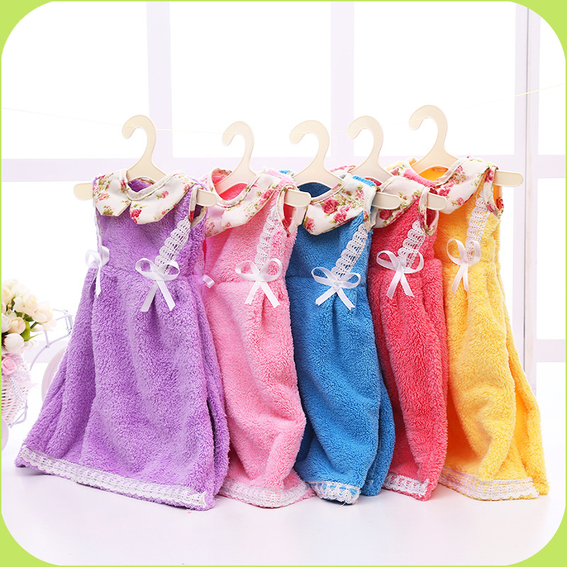5 colors creative mini kids hand towel lovely princess for Bathroom dress