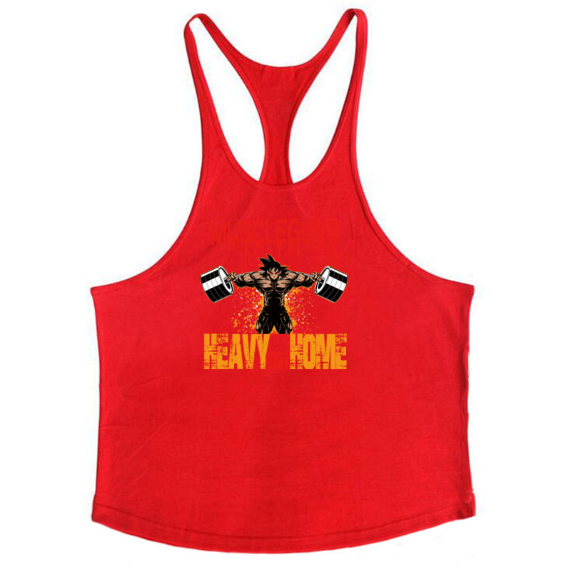 Bodybuilding Stringer Tank Tops Men Anime funny summer Tops No Pain No Gain vest Fitness clothing Cotton gym singlets 5