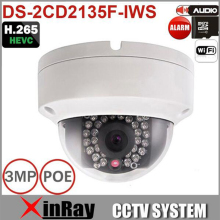 Cámara IP inalámbrica DS-2CD2135F-IWS con dual audio In/out WIFI CCTV Cámara IP con ranura para Tarjeta SD