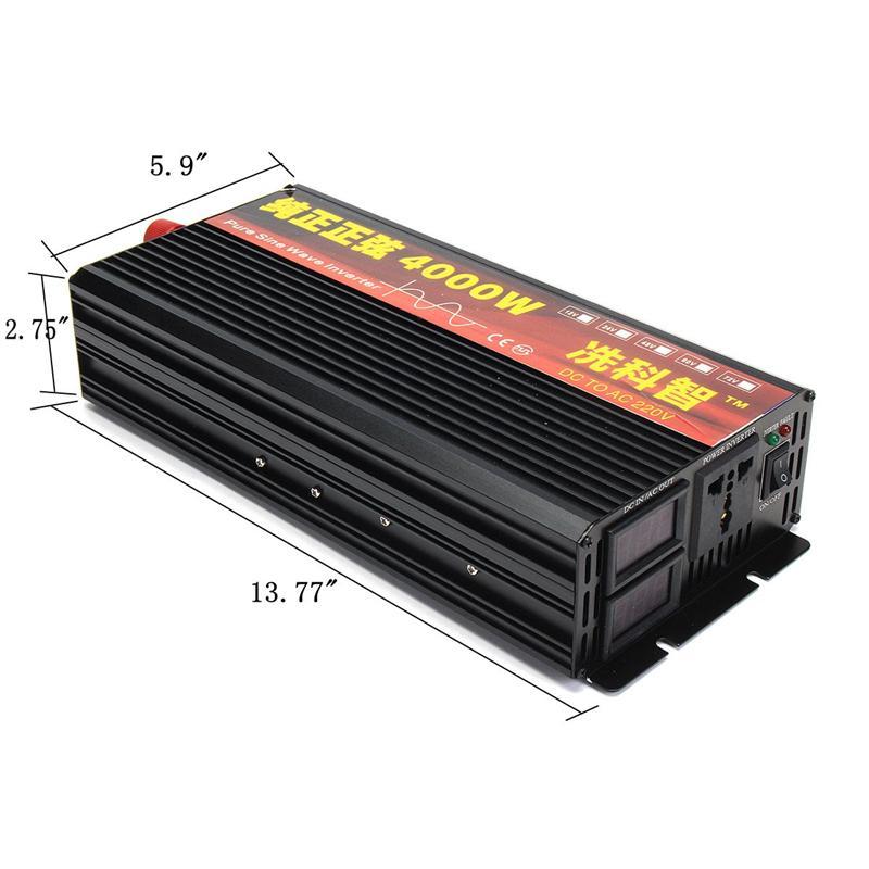 Inverter 12V 220V 2000/3000/4000W Voltage transformer Pure Sine Wave Power Inverter DC12V to AC 220V Converter + 2 LED Display 23