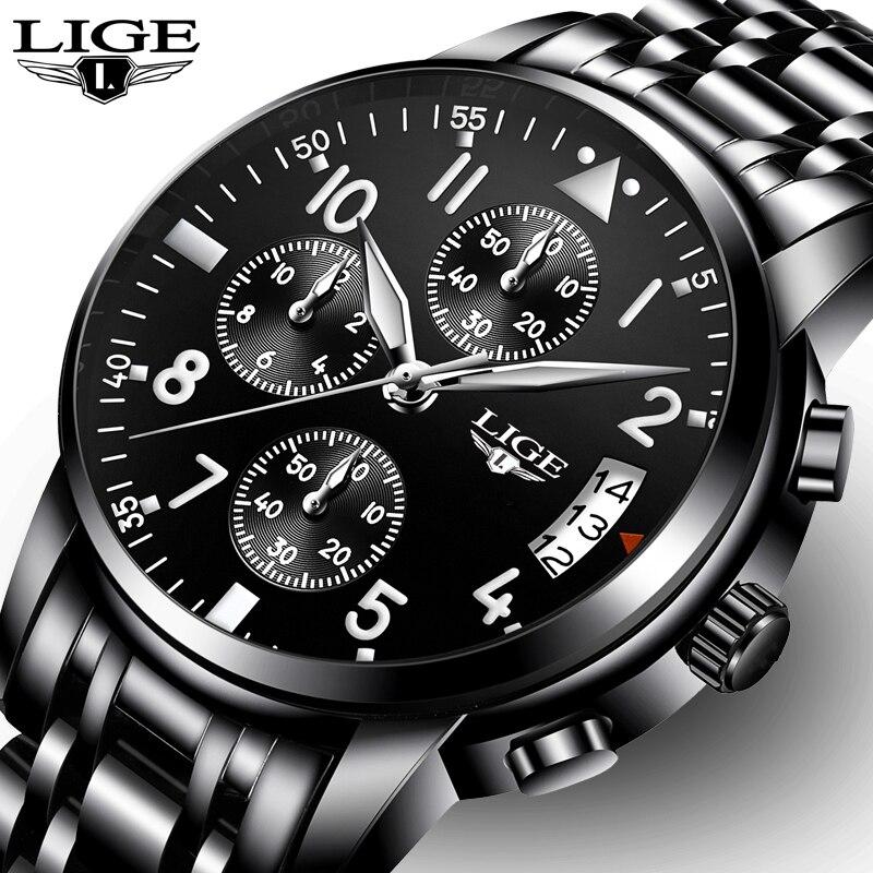 Relogio masculino LIGE Hommes Montres Top Marque De Luxe De Mode Entreprise Montre À Quartz Hommes Sport Complet En Acier Étanche Noir Horloge