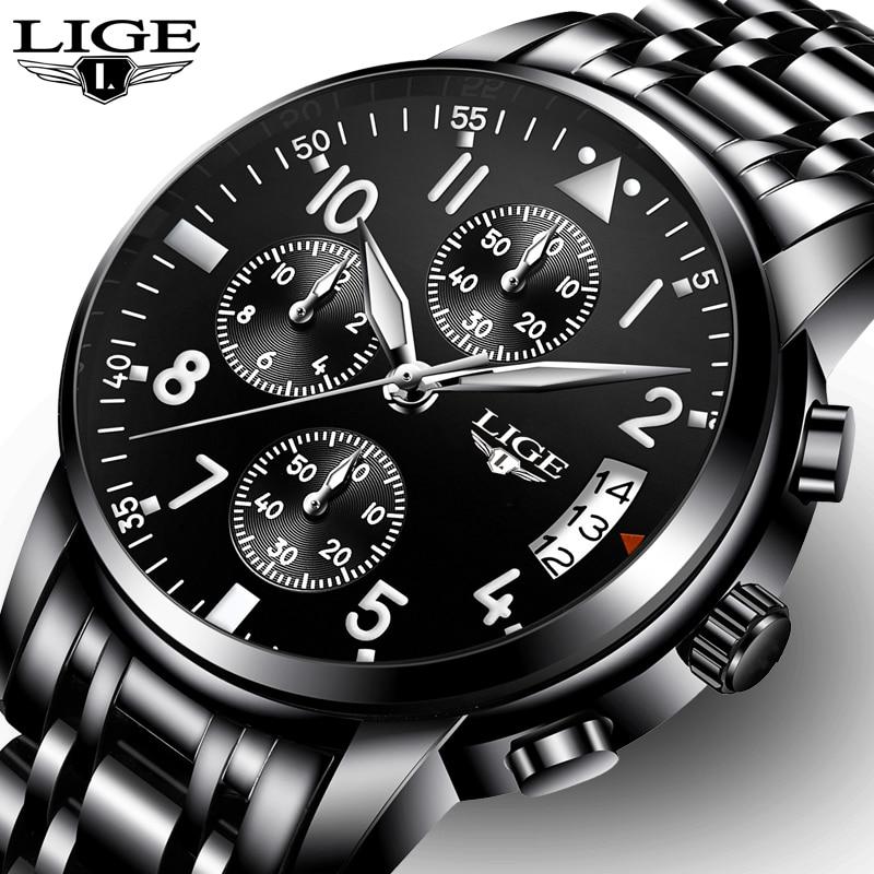 Reloj Masculino en este momento relojes para hombre marca de lujo de negocios de moda de cuarzo reloj de deporte de los hombres de acero resistente al agua reloj negro
