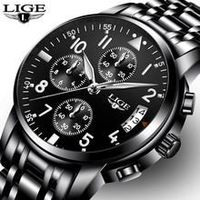 Relogio masculino LIGE Mens Saatler Üst Marka Lüks Moda İş Kuvars İzle Erkekler Spor Tam Çelik Su Geçirmez Siyah Saat