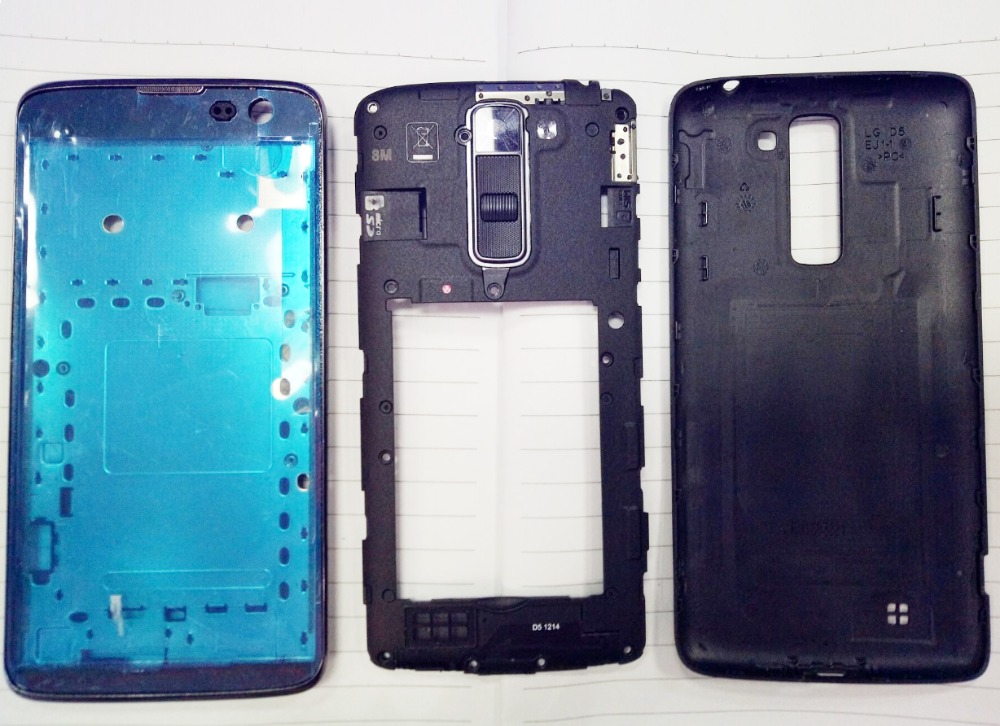 For LG K7 X210 X210DS Frame Front Chassis + Middle Camera Bezel Frame + Back Rear Battery Cover Full Housing + Adhesive + kits