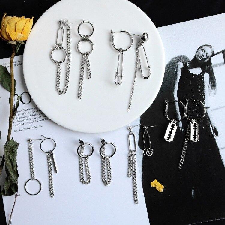 models simple minimalist punk metal Earrings Pin tassel Chain Earrings earring ear ...