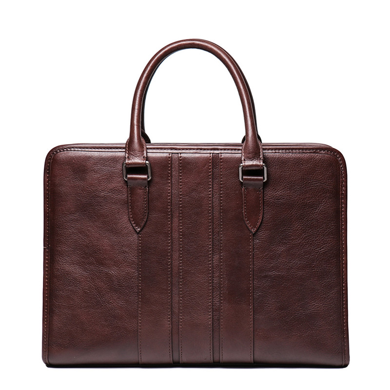 Nesitu Vintage Brown Coffee A4 Full Grain Vegatable Tenned Genuine Leather Office Men Briefcase Portfolio Messenger Bag M9272