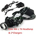 NEW Design Headlight CREE XML XM-L T6 LED 2000 Lumens 3 Mode Waterproof Zoom Focus Front Light LED Headlamp & 2*Chargers