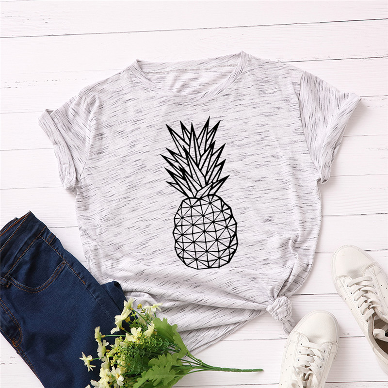 Plus Size S-5XL Fashion Pineapple Print T Shirt Women Shirts 100% Cotton O Neck Short Sleeve Summer T-Shirt Tops Casual Tshirt