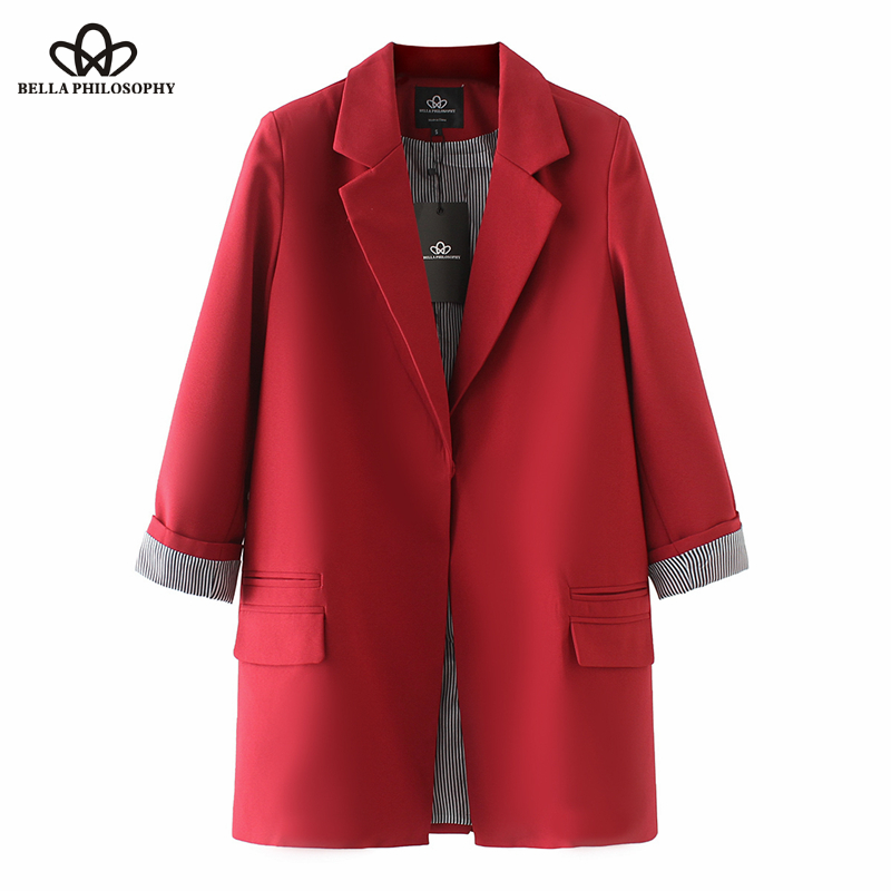 Bella Philosophy spring women full sleeves casual Blazer turn down collar ladies plus size outwears single breasted long blazer