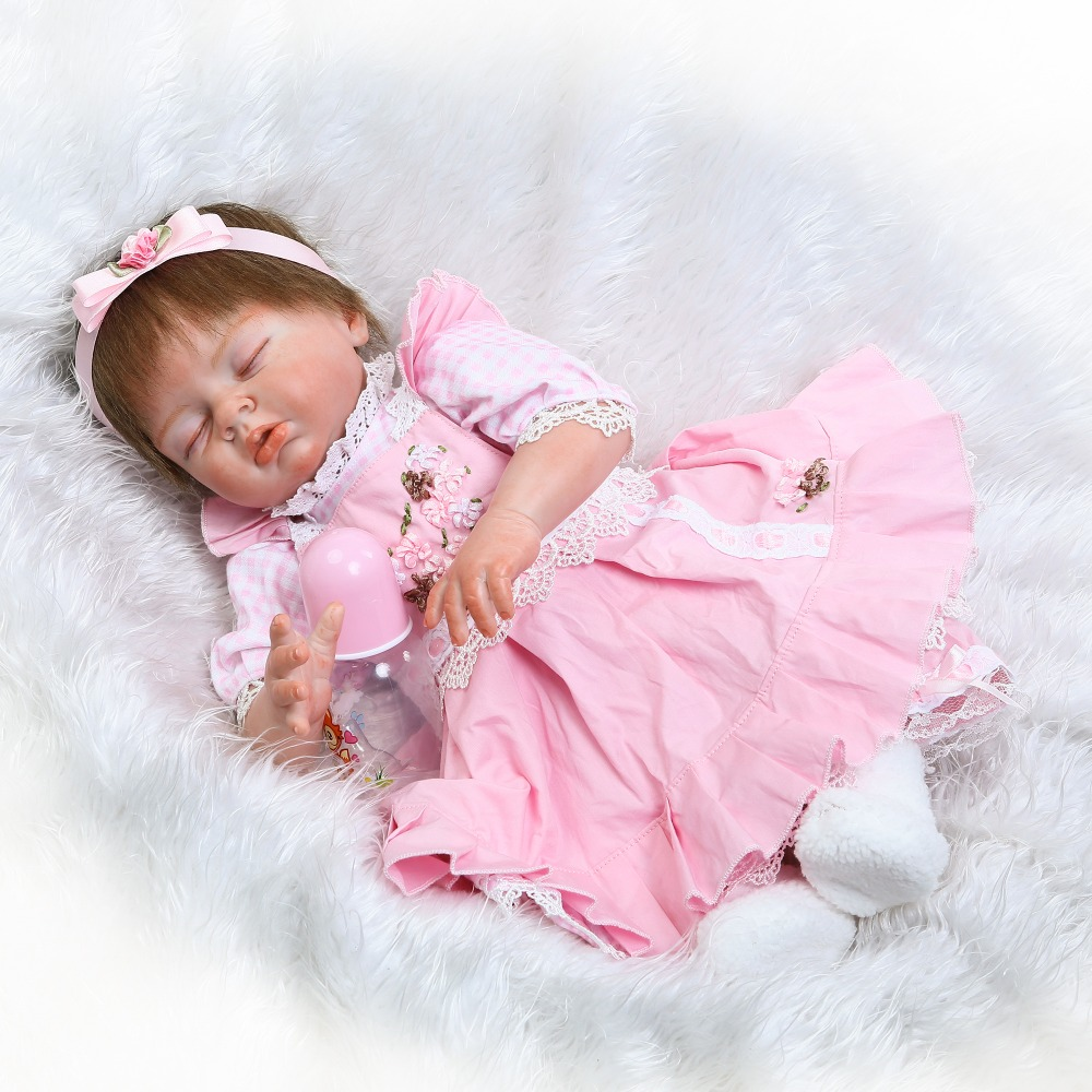 Silicone reborn baby dolls 2255cm newborn girl fake baby dolls pink dress real alive bebes bonecas kids gift Silicone reborn baby dolls 2255cm newborn girl fake baby dolls pink dress real alive bebes bonecas kids gift