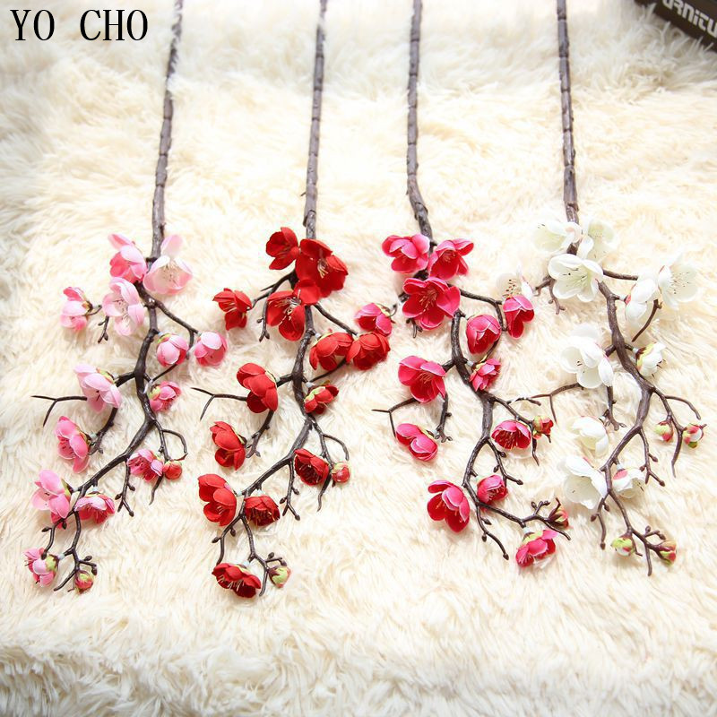 YO CHO Wedding Decoration Wholesale Party Home Decorative Artificial White Cherry Blossom Tree Fake Sakura Orchid Flowers DIY in Artificial Dried Flowers from Home Garden