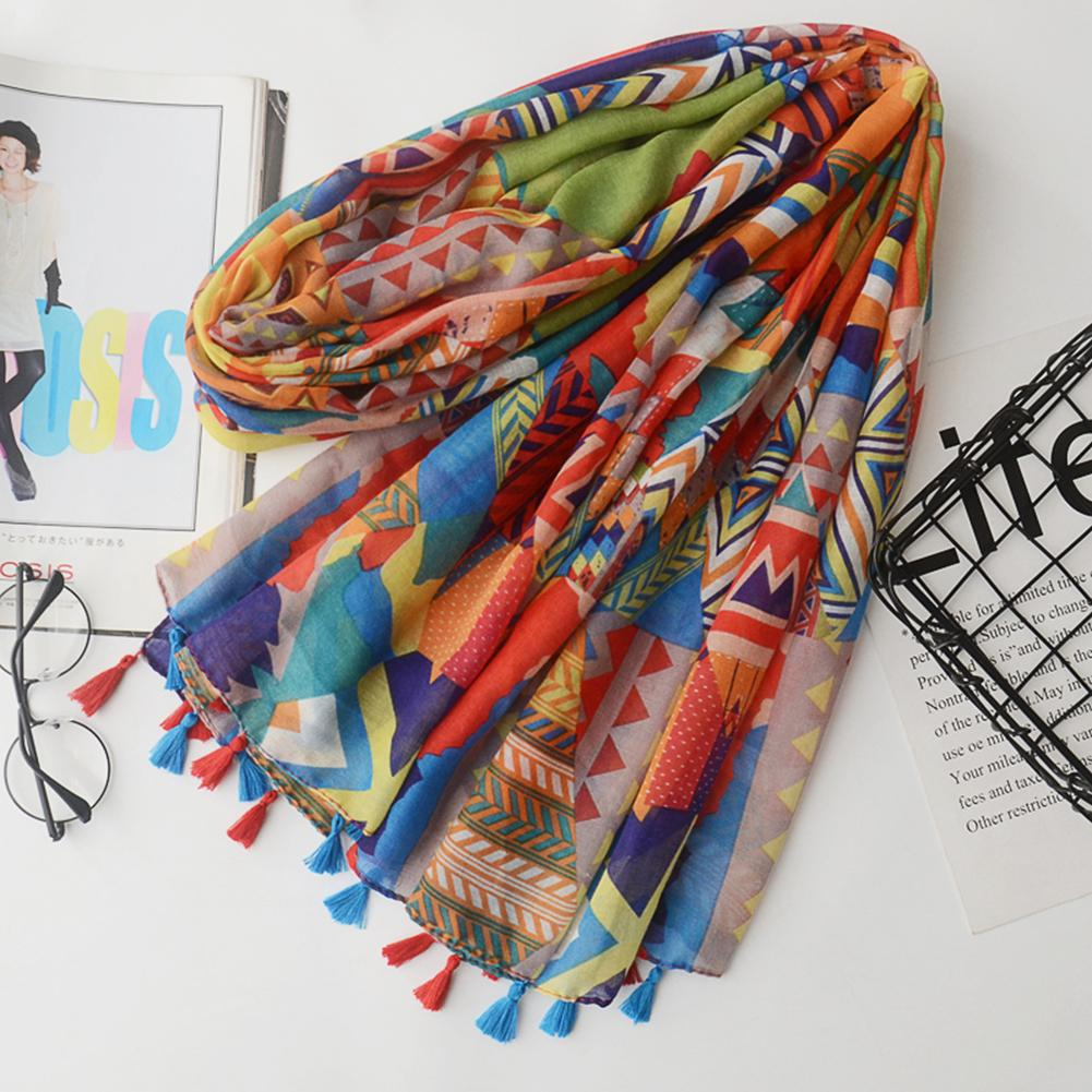 Fashion Women Color Blocking Geometry Pattern Scarf Tassel Travel Shawl Cover Up New Vintage