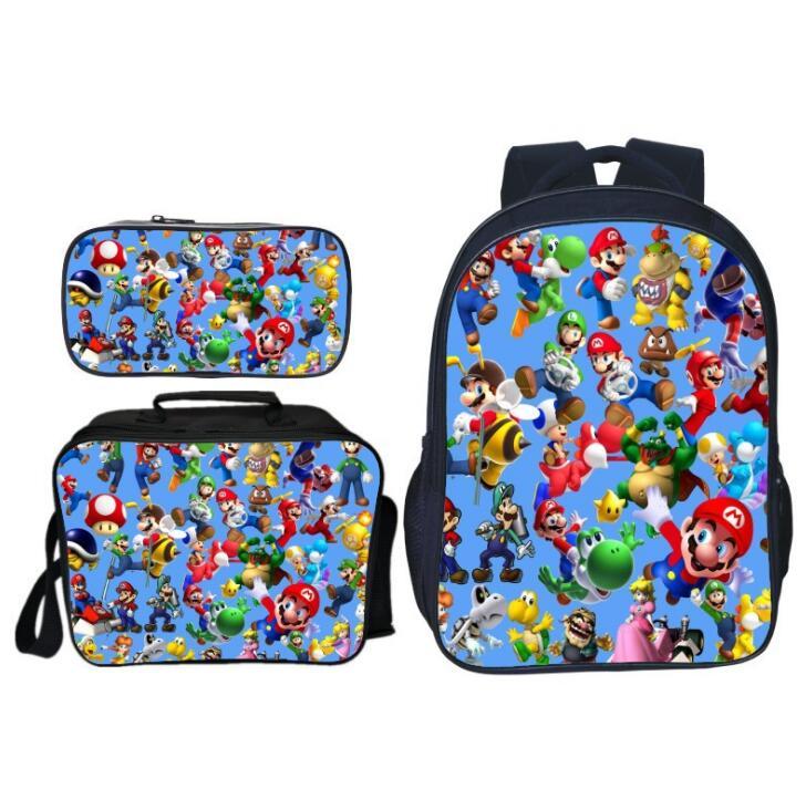 New Arrivals 3Pcs/Set Printing 3D Super Mario Kids Shoulder Backpacks Cartoon Children School Bags For Boys Schoolbag Girls Bag