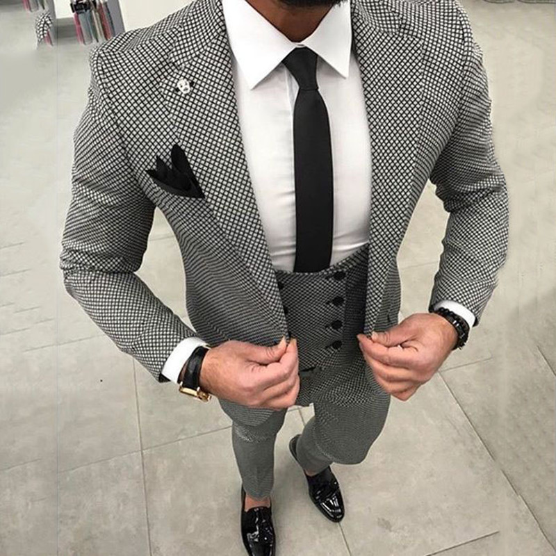 New Black and White Men Suits Designers 2018 Slim Fit Business Street Suits 3 Pieces Wedding Suits For Men Costume Homme Mariage