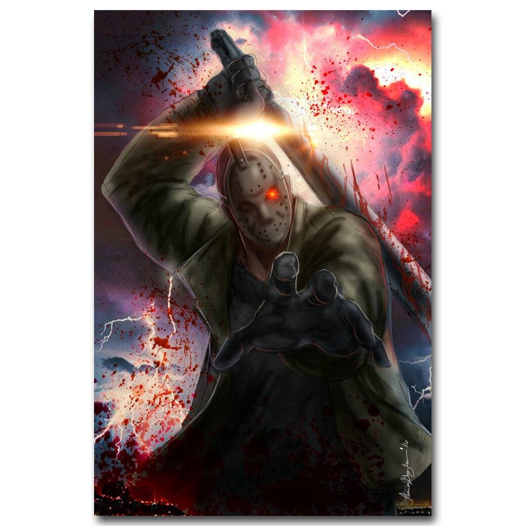 Пятница 13th Книги по искусству Шелковый плакат печать 13x20 24x36 дюймов Джейсон Вурхиз классический фильм ужасов фото для стены комнаты декор 009