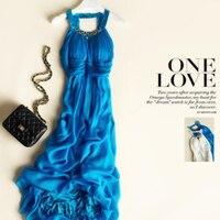 Шелк летнее платье Для женщин элегантные длинные пляжные море Голубое платье модные Стиль одежда высокого качества Бесплатная доставка; Ли