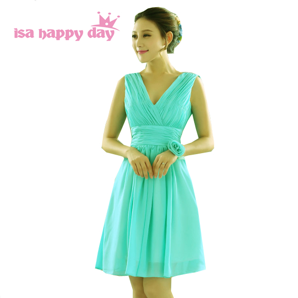 2019 a line custom made summer bridesmaids dress v neck short plus size dresse green dresses special occasion party gowns H1596