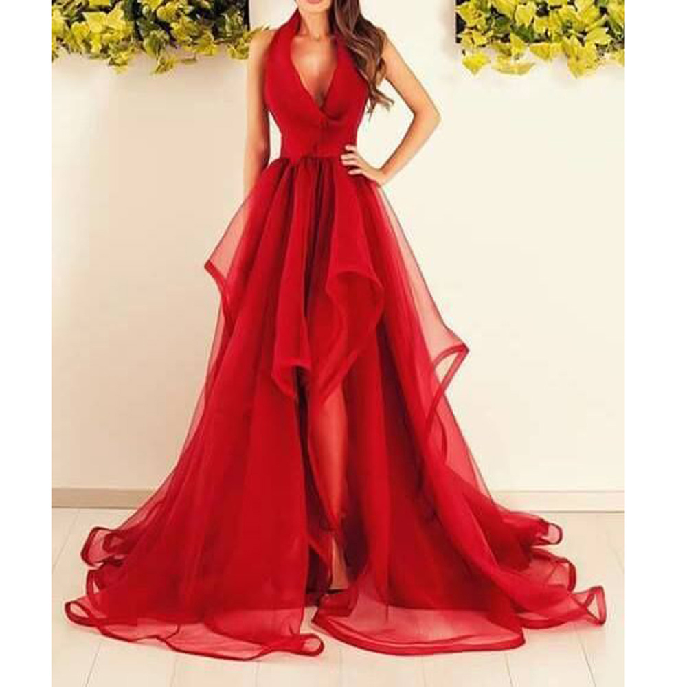 Red And White Evening Dress: New Arrival Red Evening Dresses Halter Deep V Neck Long