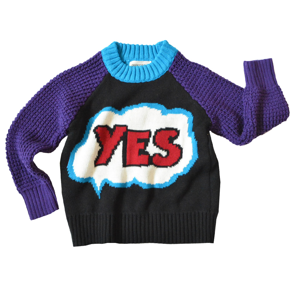 QUIKGROW Winter Warm Textured 'YES PARTY' Unisex Infant Girls Sweater Baby Boy Pullover Cute Retro Style Jumpers YM18MY