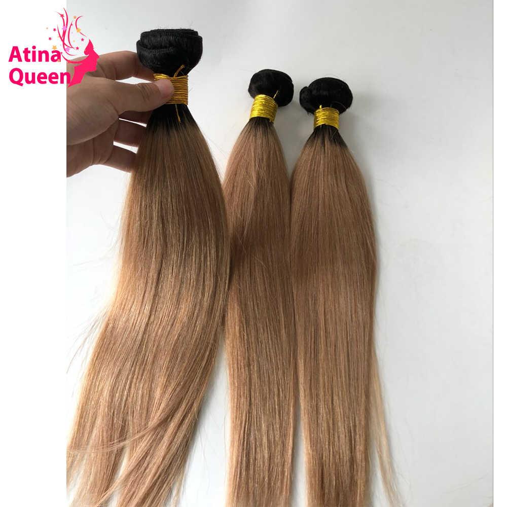 Extensiones de cabello humano Remy 1B/27, extensiones de cabello humano, raíces oscuras, miel rubia