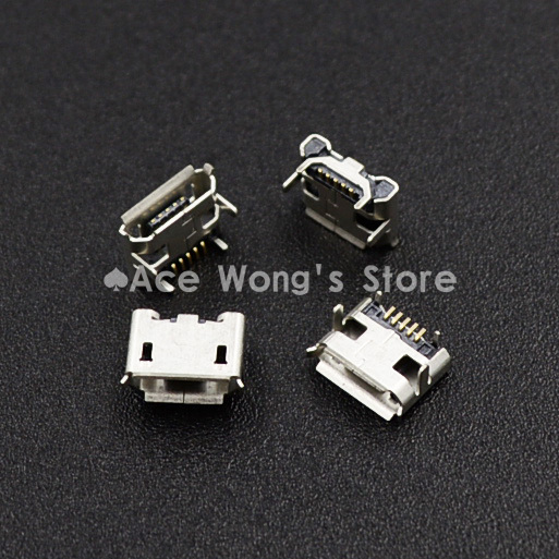цена на New high quality 10pcs Micro USB Connector Jack Female Type 5Pin SMT Tail Charging socket PCB Board