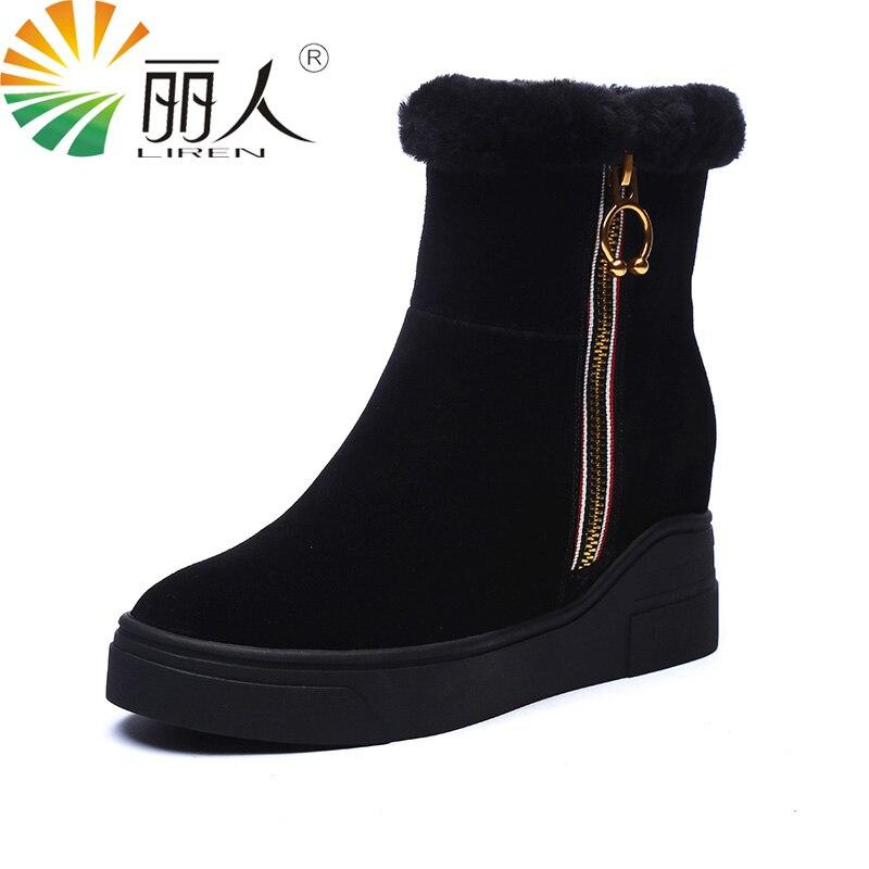LIREN Shoes Woman 2017 High Quality Women Leather Winter Ankle Boots Fur Warm Snow Short Boots Women Waterproof Size 34-39