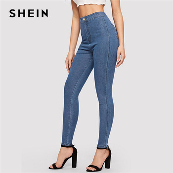 SHEIN Solid Skinny Jeans 2019 Spring Autumn Skinny Stretchy Jeans Blue Navy Woman Solid High Waist Denim Long Trousers