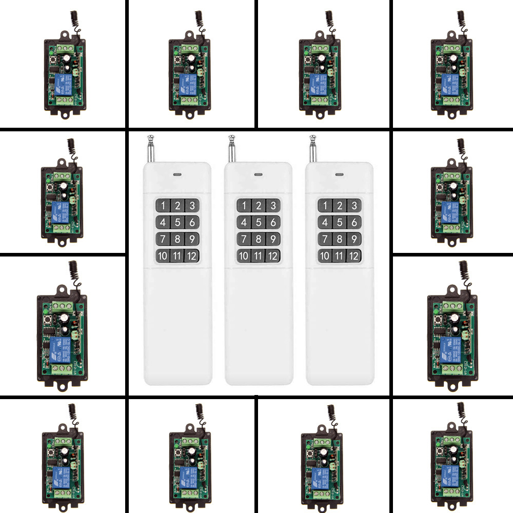 3000m DC 9V 12V 24V 1 CH 1CH RF Wireless Remote Control Switch System,315/433.92 3 X Transmitters + 12 X Receivers,M T dc m клемма