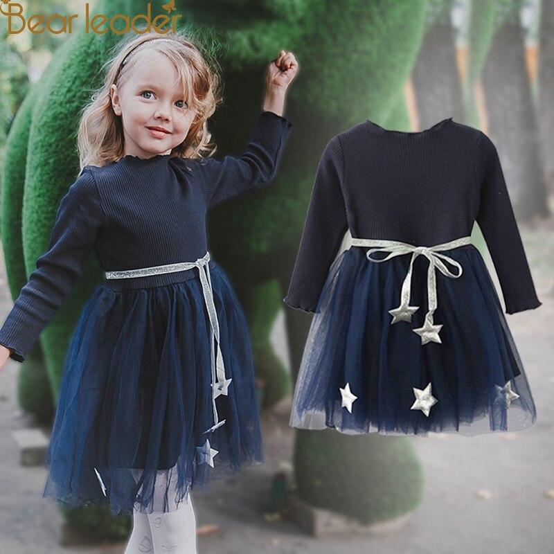 Bär Führer Mädchen Kleid 2018 Neue Mode Prinzessin Kleidung Pentagramm Aufkleber Design Mesh Wünschen Gürtel Für Kinder Kleid 3-7years