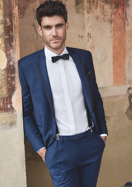 New Design Small Lapel Blue Mens Suits Groomsmen Wedding Party Dinner Prom Tuxedos Best Man Suits Blazer (Jacket+Pants+Bow Tie)