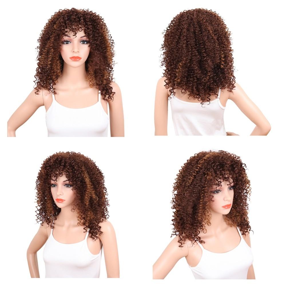 Deyngs Kinky Curly Synthetic Parykar Med Bangs 20inch Natur Svart - Syntetiskt hår - Foto 3