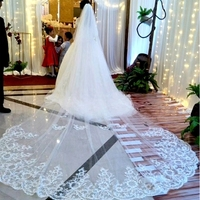 Up.Sky White Ivory Cathedral Wedding Veils Long Lace Edge Bridal Veil with Comb Wedding Accessories Bride Veil Wedding Veil