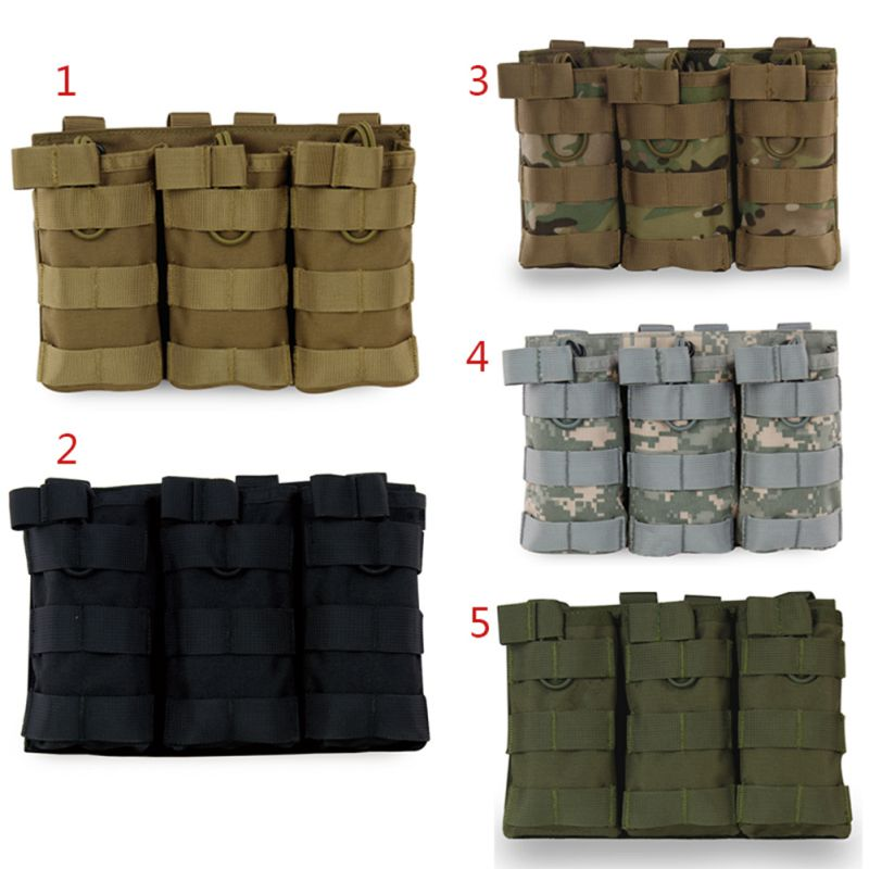 1000D Nylon Tactical MOLLE Triple Open-Top Magazine Pouch FAST AK AR M4 FAMAS Mag Military Pouch for Paintball Airsoft image