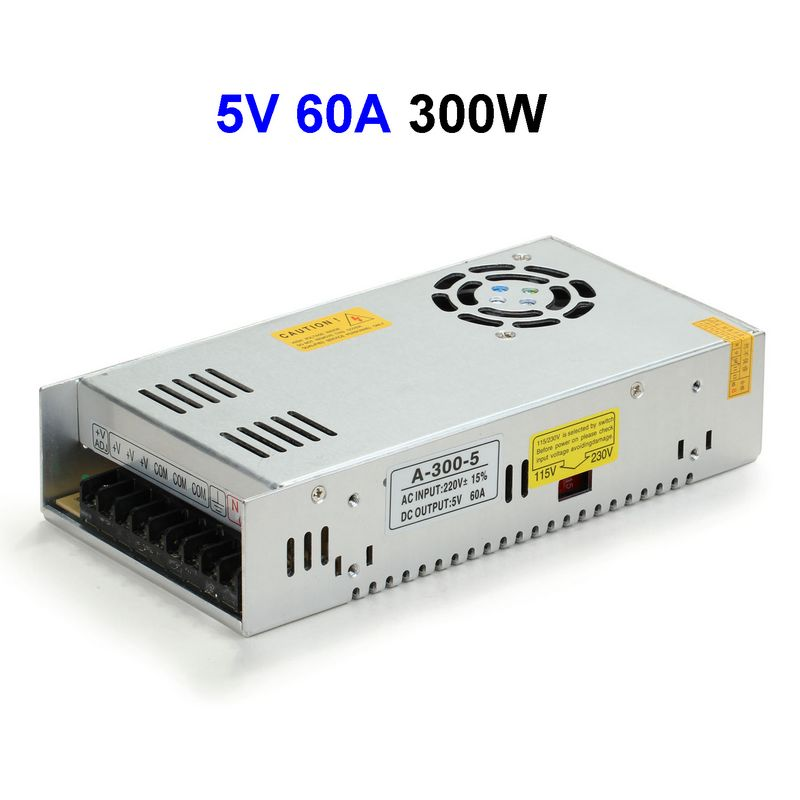 5pcs DC5V 60A 300W Switching Power Supply Adapter Transformer For LED Controller 5050 5730 3528 5630 LED Modules 5pcs dc5v 60a 300w switching power supply adapter driver transformer for 5050 5730 5630 3528 led rigid strip light
