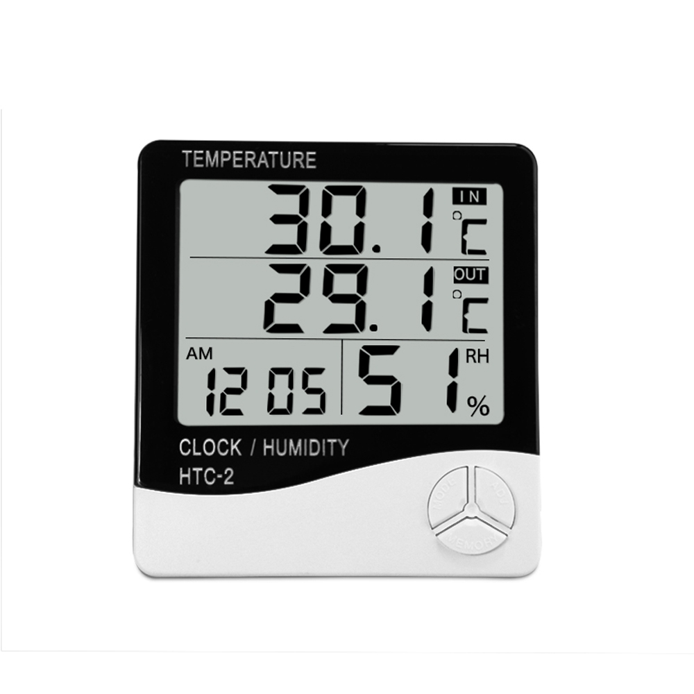 HTC-2 Alarm Clock Digital LCD Thermometer Humidity Meter Weather Station Indoor Outdoor