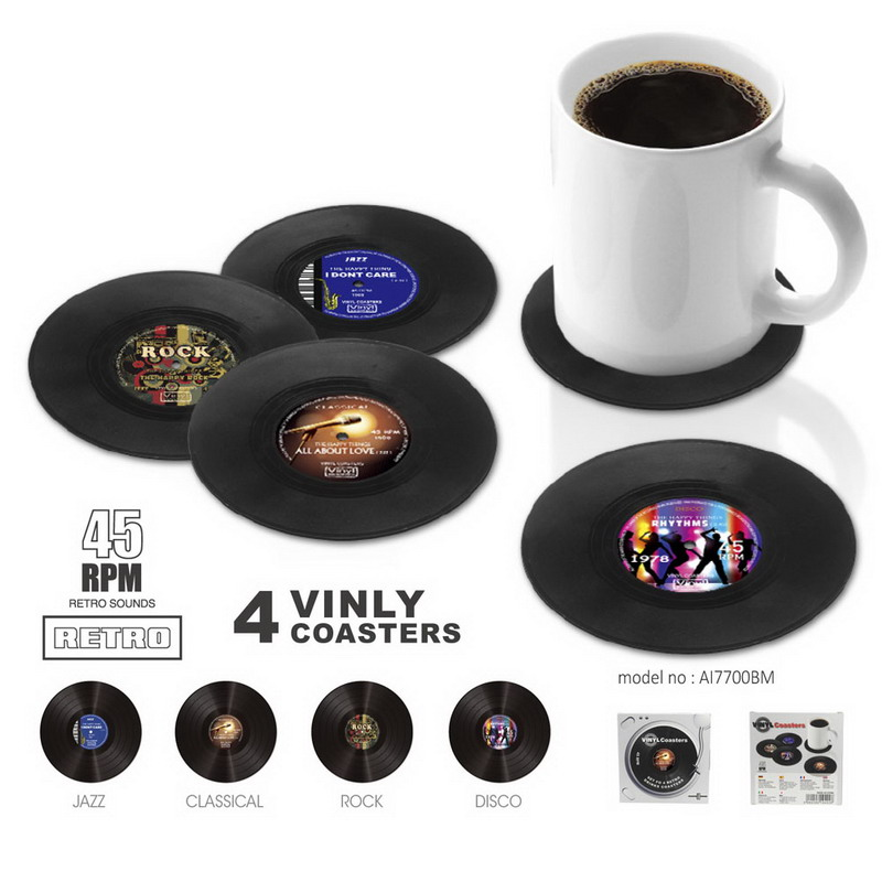 Useful Vintage Vinyl Record Beverage Coasters Anti-slip Cup Coffee Mug Mat Heat Resistant Table Placemat