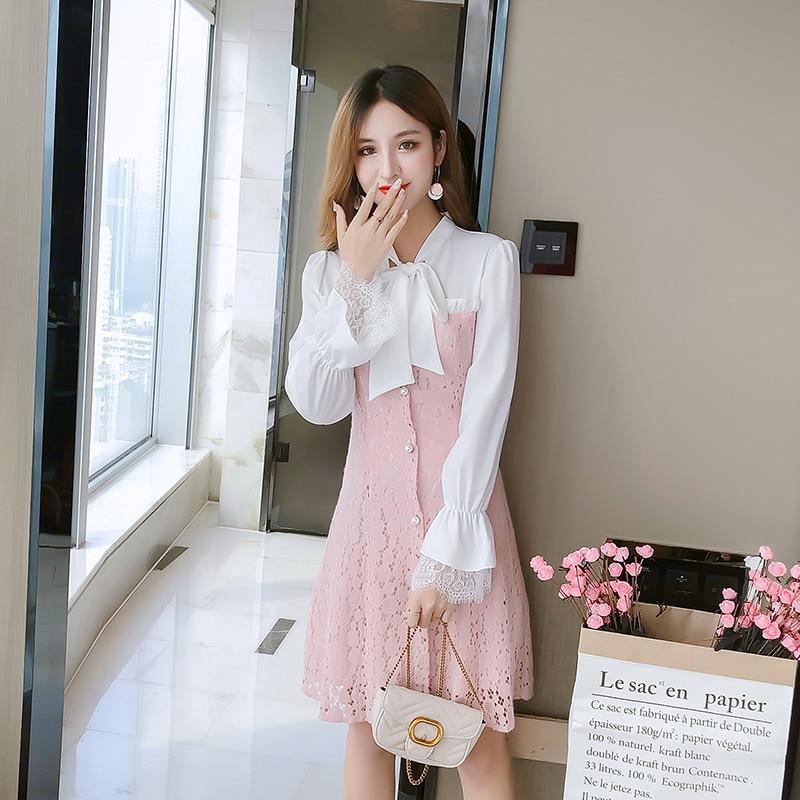 Vintage Lace Dress Women 2019 Spring New Women Dresses Long Sleeve V neck Bodycon Dress Sexy