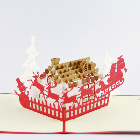 Deer and house Christmas card /3D kirigami card/ handmade greeting cards gift for men Free shipping