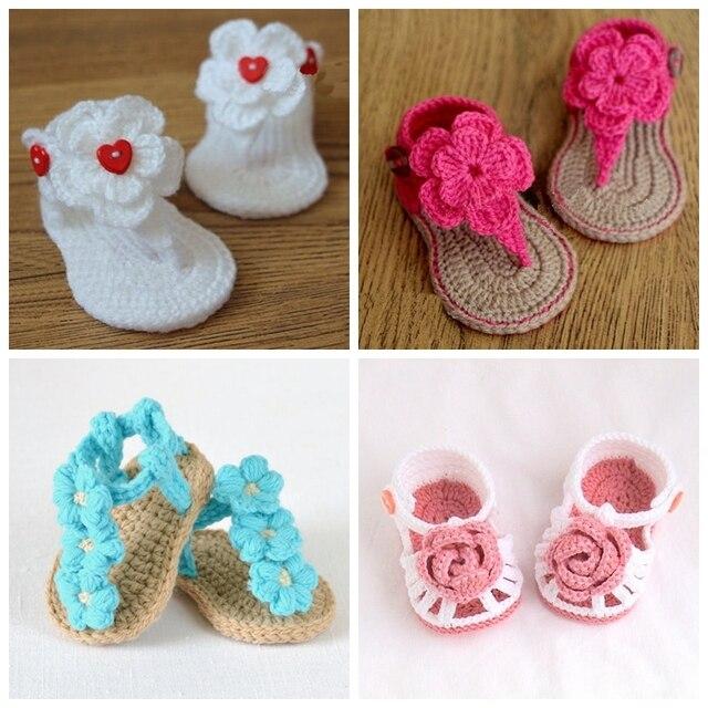 Verano crochet bebé Sandalias ganchillo Zapatos de bebé, Gladiador ...