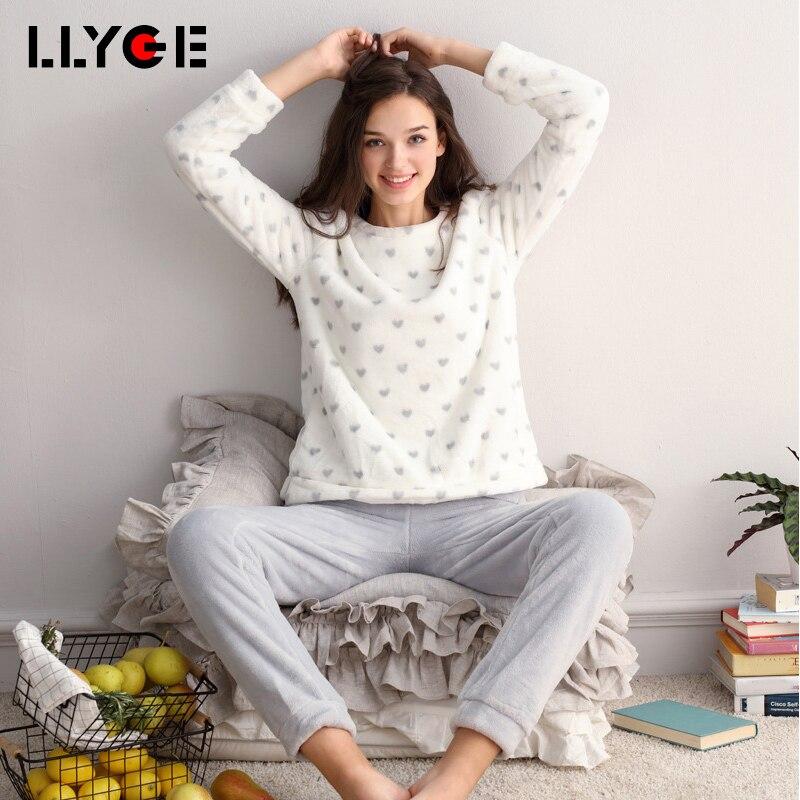LLYGE Winter Women Sleepwear Flannel   Pajama     Set   2018 Long Sleeve Warm Velvet Pants Pyjama Female Soft 2 Piece Homewear Nightgown