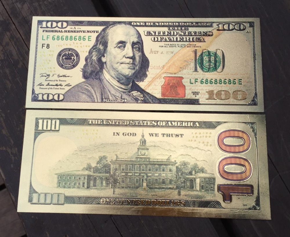 USA 100 Dollar Gold Banknote Currency Bill Paper Money Coin Medal