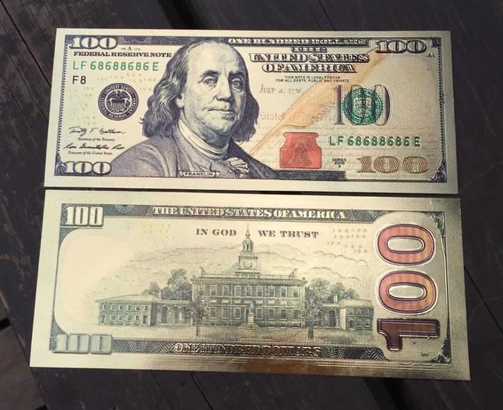 USA 100 dolar złoty banknot bankot, waluta papierowe pieniądze moneta Medal 24k stany zjednoczone ameryki