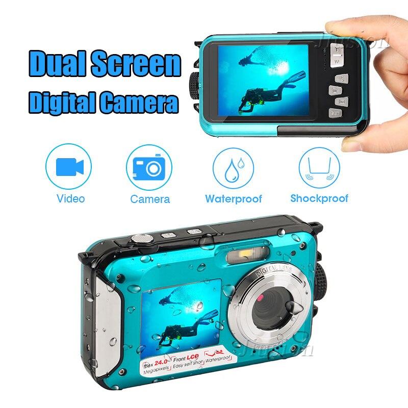 1080P HD Dual Screen TFT Digital Camera Waterproof 16x Zoom 24MP Max Video Recorder Underwater Camcorder Sport Mini Action Cam