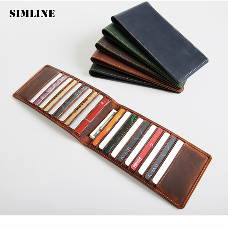 SIMLINE Vintage Genuine Crazy Horse Cow Leather Men Men's Long Slim Wallet Wallets Purse Credit Card Holder Holders Man Women simline vintage genuine cow leather cowhide mens men long double zipper wallet purse wallets card holder clutch bag bags for man