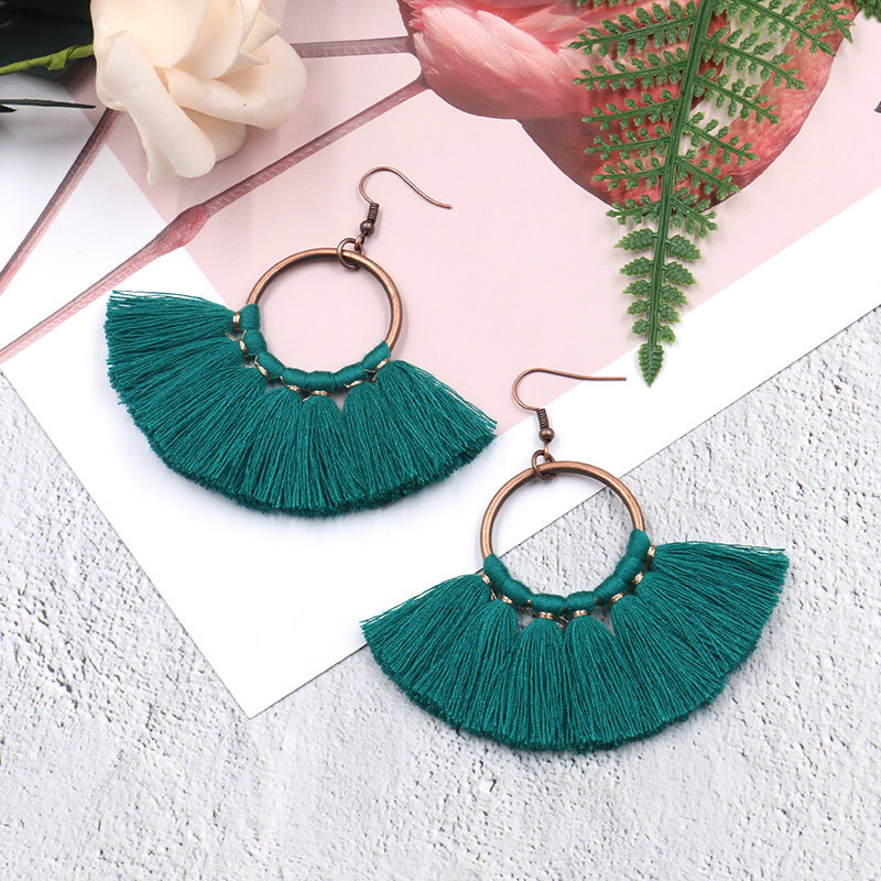 Exknl Long Vintage Fringed Drop Tassel Earrings Women Bohemian Round Big Earrings Ethnic Party Dangle Earrings Fashion Jewelry 13