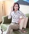 Terninhos 2 Peça Define As Mulheres da moda Desgaste do Trabalho Ternos com Conjuntos de calça e Camisa Impressão Blusas & Tops Ladies Negócios roupas