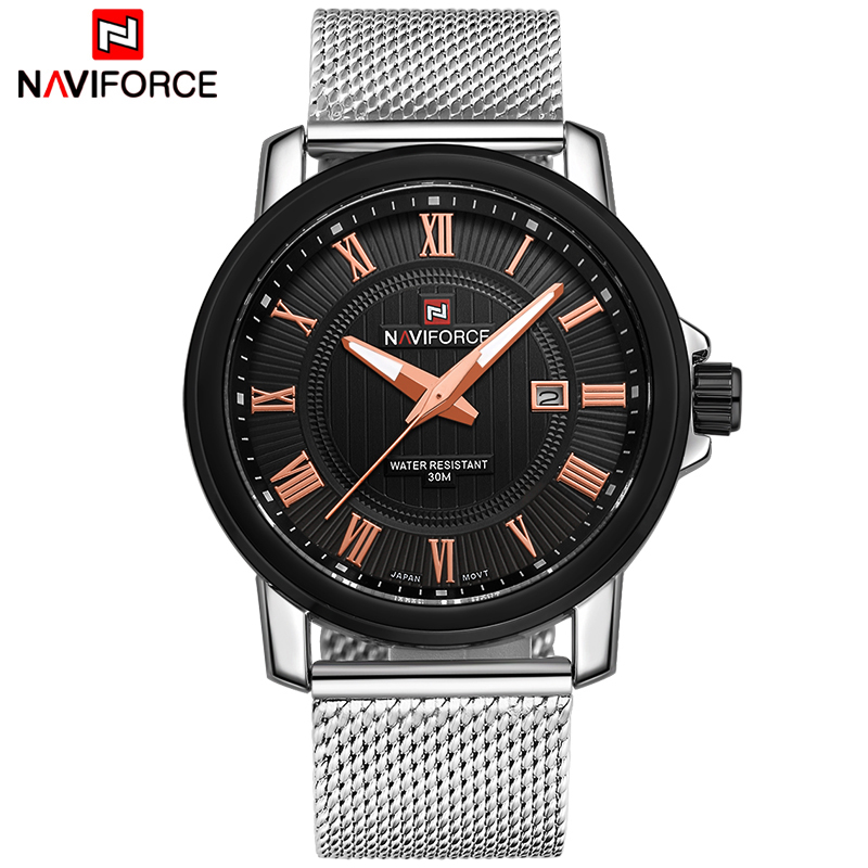 Top Luxury Brand NAVIFORCE Men Fashion Casual Business Watches Men's Quartz Clock Male stainless steel Mesh Strap Wrist Watch oubaoer fashion top brand luxury men s watches men casual military business clock male clocks sport mechanical wrist watch men