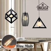Vintage Wrought Iron Pendant Lights Industrial Lighting Fixtures Black Metal Living Room Bar Office Shop Hotel