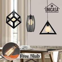 Vintage Wrought Iron Pendant Lights Industrial Lighting Fixtures Black Metal Living Room Bar Office Shop Hotel LED Ceiling Lamp